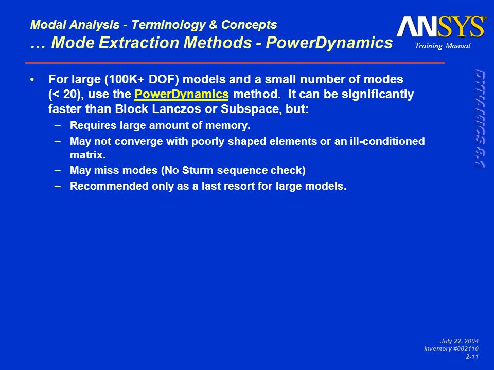 Modal Analysis - Terminology & Concepts … Mode Extraction Methods - PowerDynamics