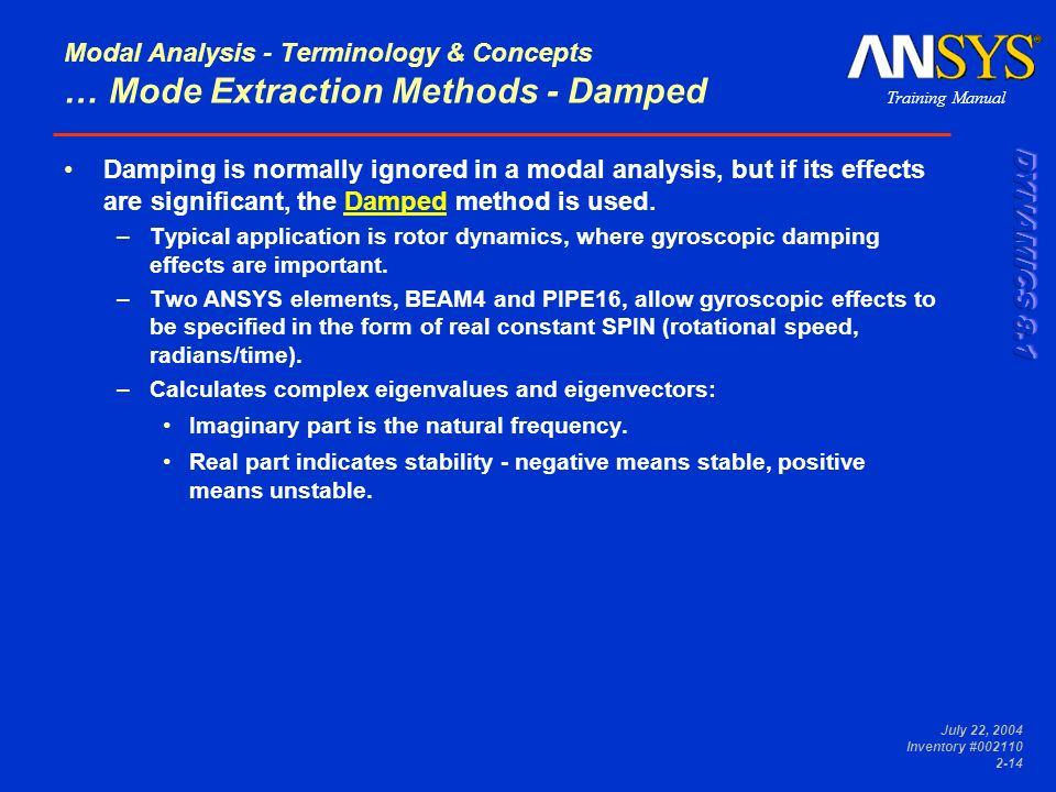 Modal Analysis - Terminology & Concepts … Mode Extraction Methods - Damped