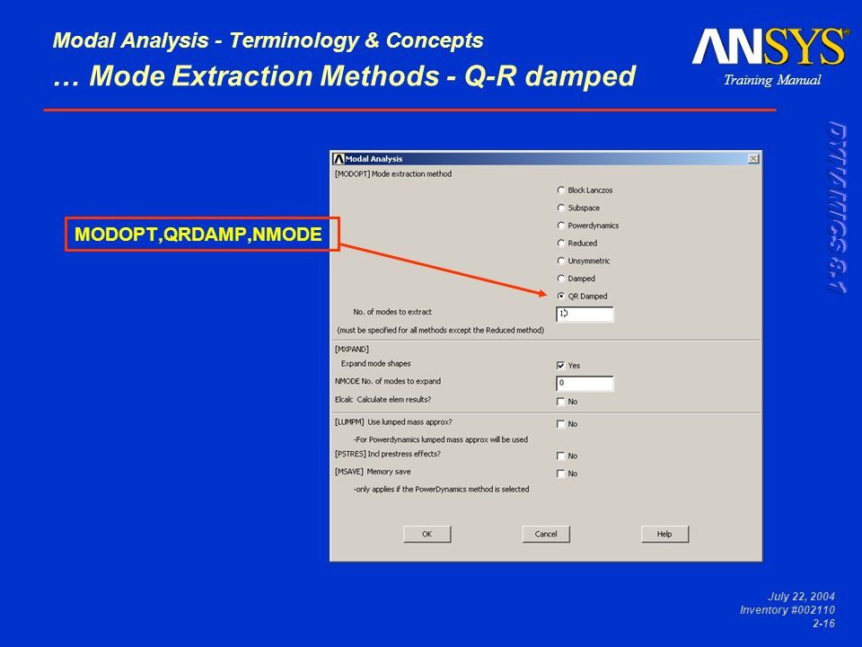 Modal Analysis - Terminology & Concepts … Mode Extraction Methods - Q-R damped