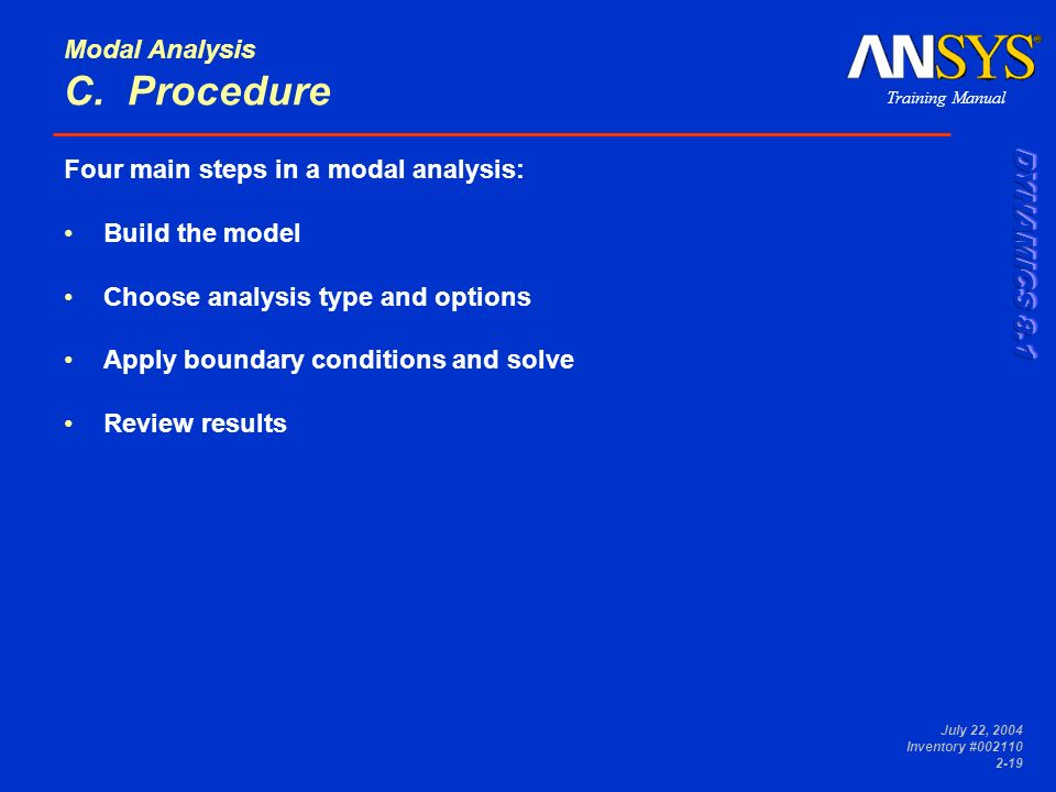 Modal Analysis C. Procedure