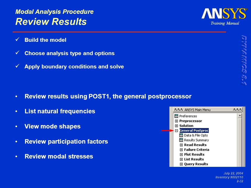 Modal Analysis Procedure Review Results