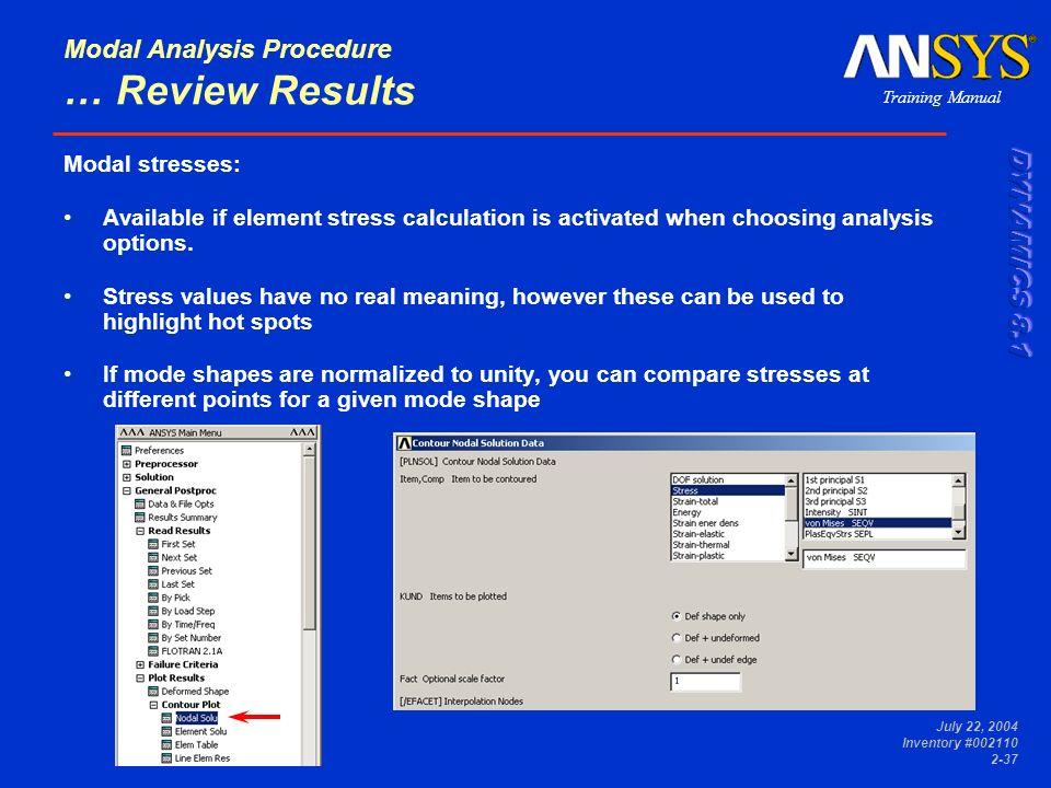 Modal Analysis Procedure … Review Results