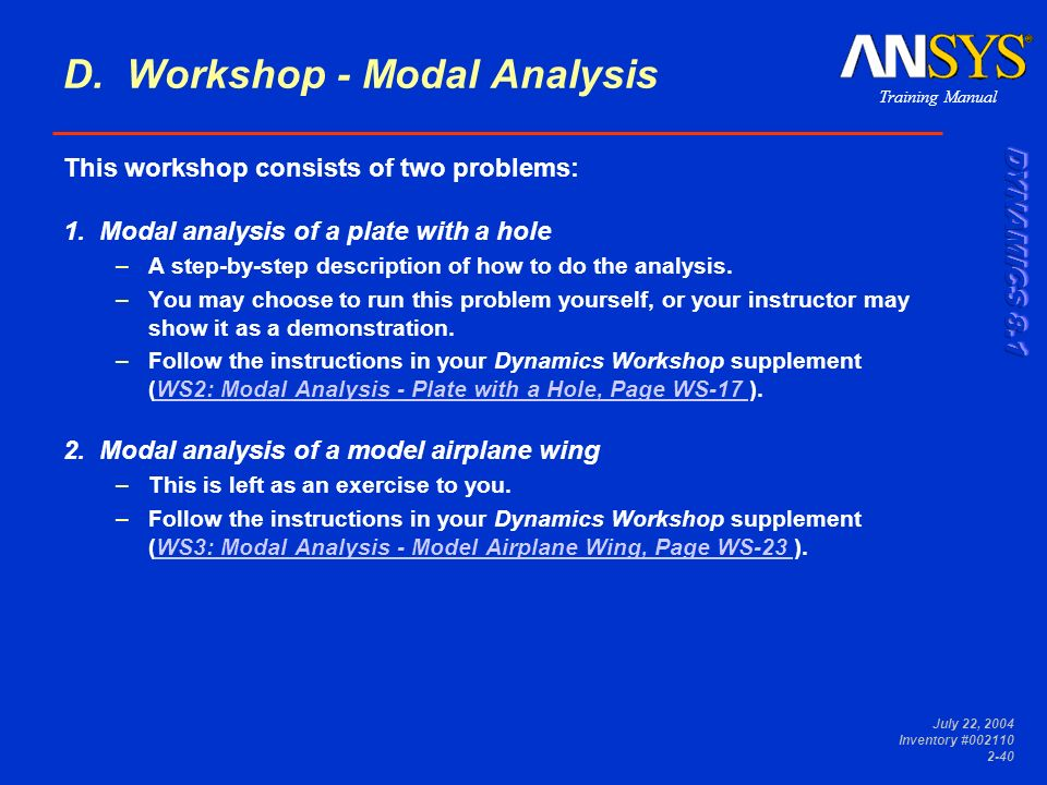 D. Workshop - Modal Analysis