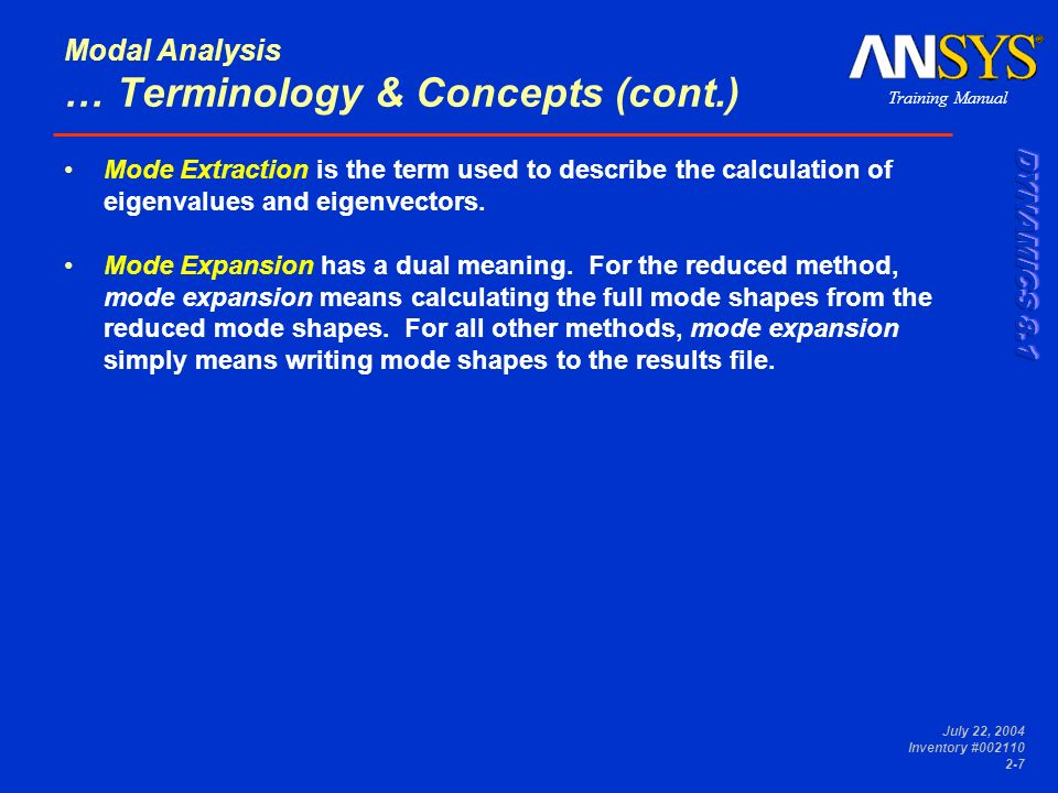 Modal Analysis … Terminology & Concepts (cont.)