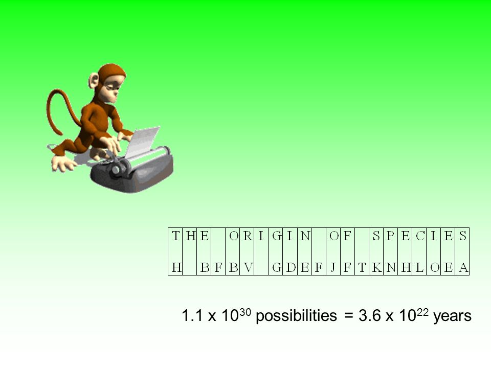 1.1 x 1030 possibilities = 3.6 x 1022 years