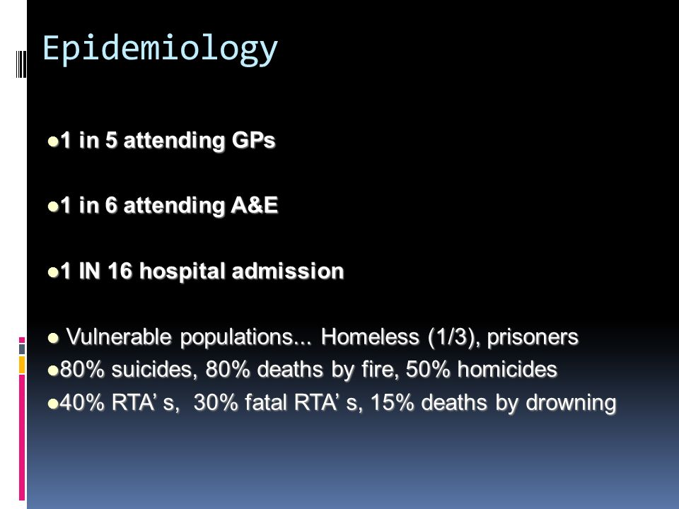 Epidemiology 1 in 5 attending GPs 1 in 6 attending A&E