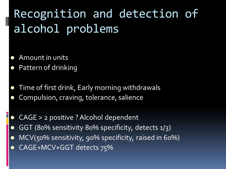 Recognition and detection of alcohol problems