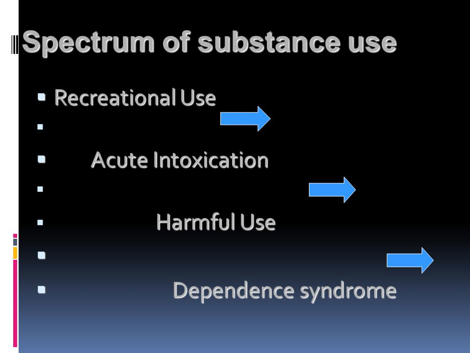 Spectrum of substance use