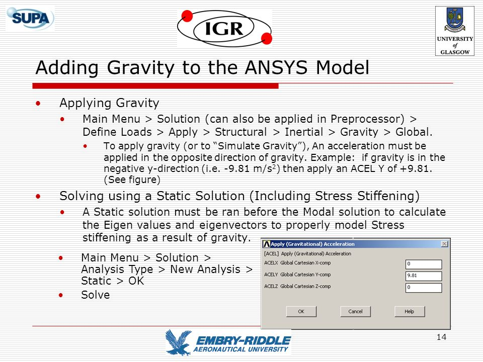 Adding Gravity to the ANSYS Model