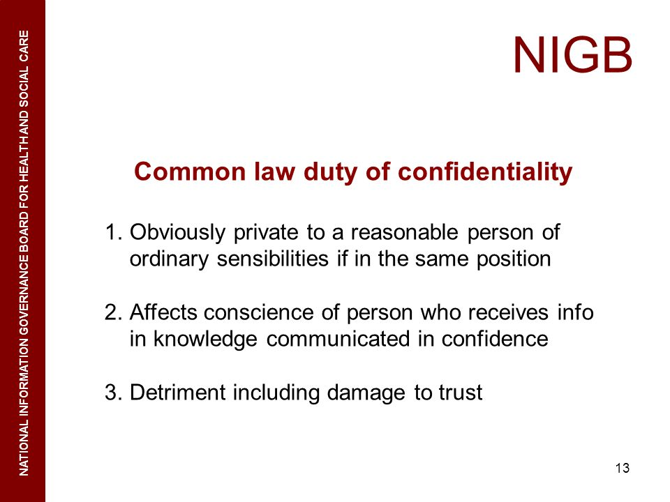 Common law duty of confidentiality