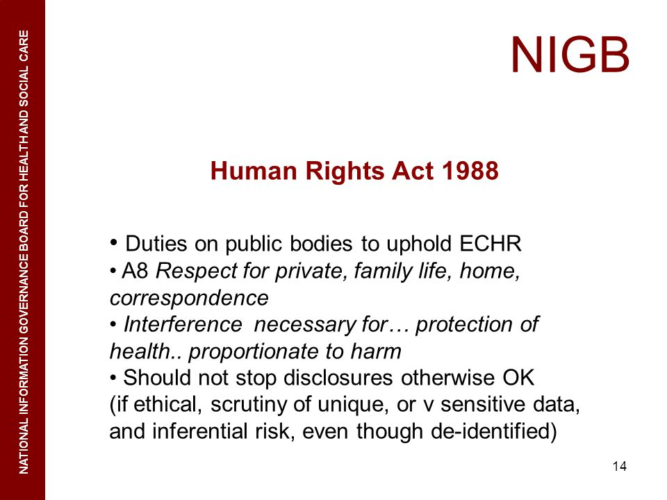 NIGB Human Rights Act 1988 Duties on public bodies to uphold ECHR