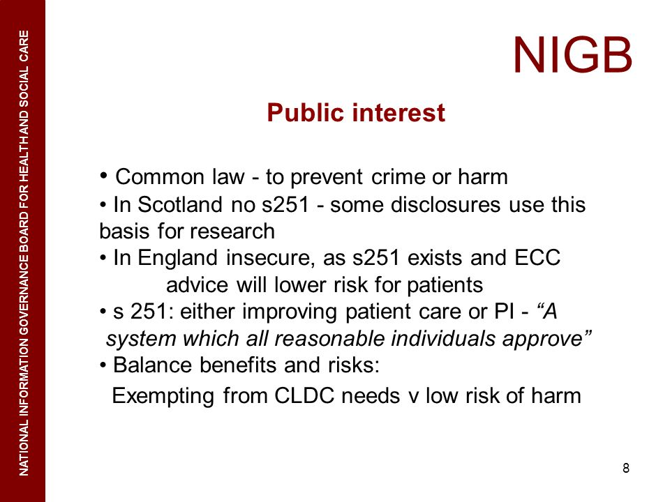 NIGB Public interest Common law - to prevent crime or harm