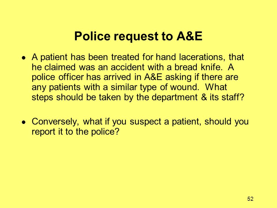 Police request to A&E