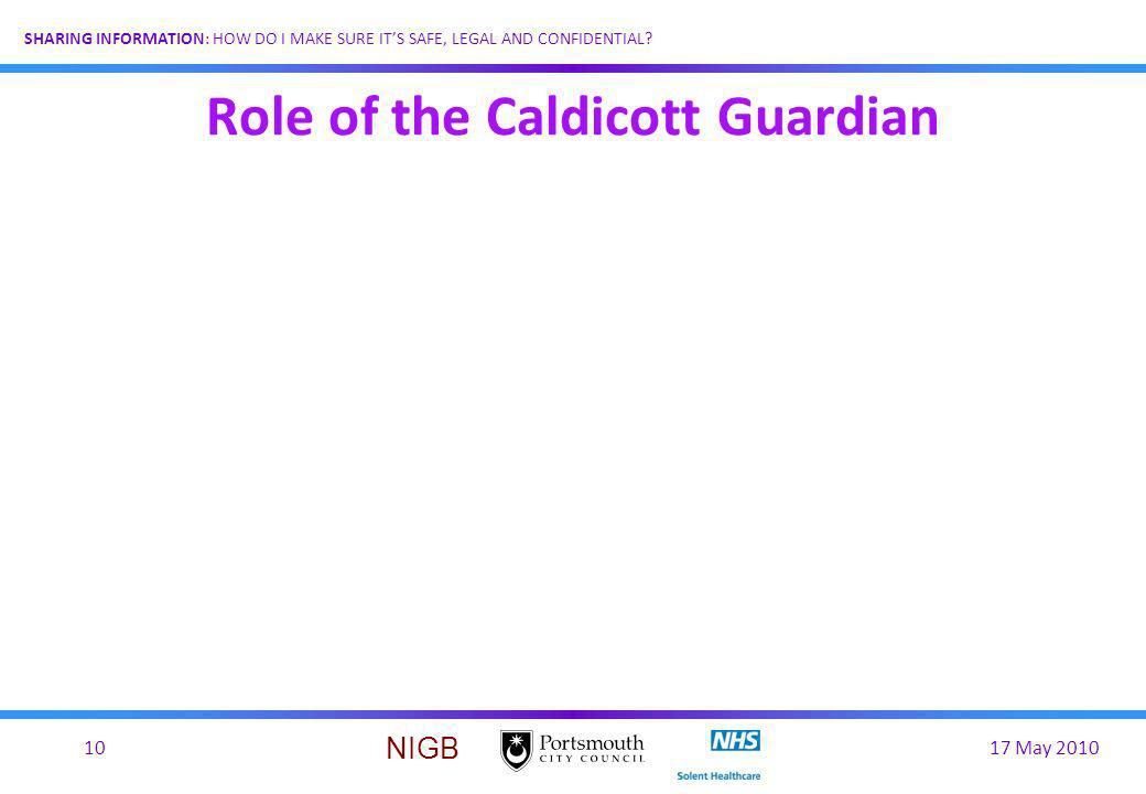 Role of the Caldicott Guardian