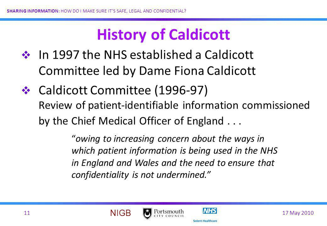 History of Caldicott In 1997 the NHS established a Caldicott Committee led by Dame Fiona Caldicott.