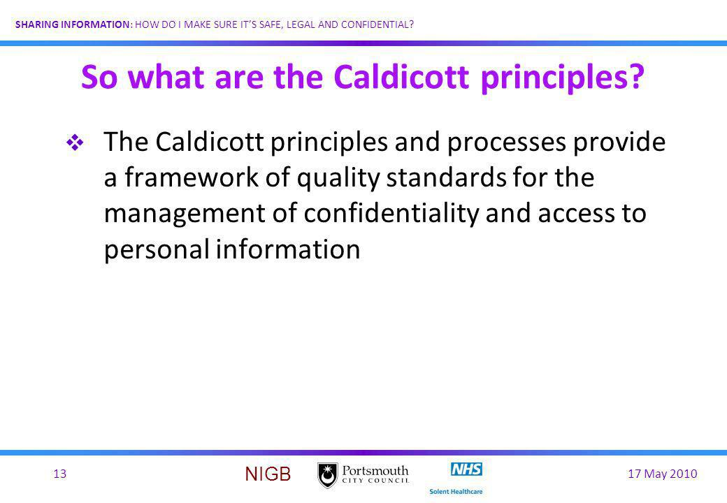 So what are the Caldicott principles