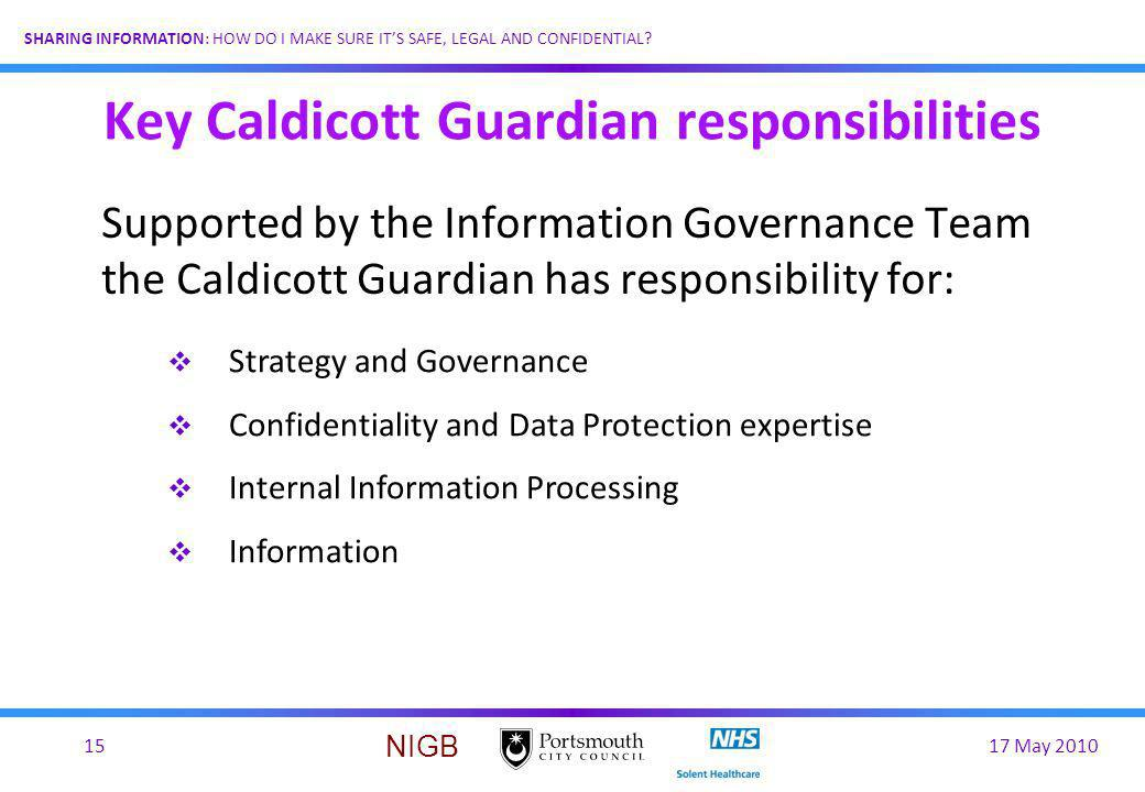 Key Caldicott Guardian responsibilities
