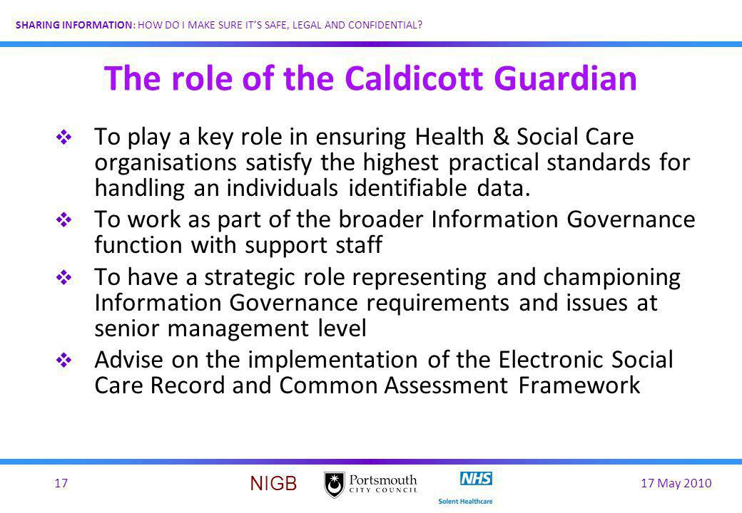 The role of the Caldicott Guardian