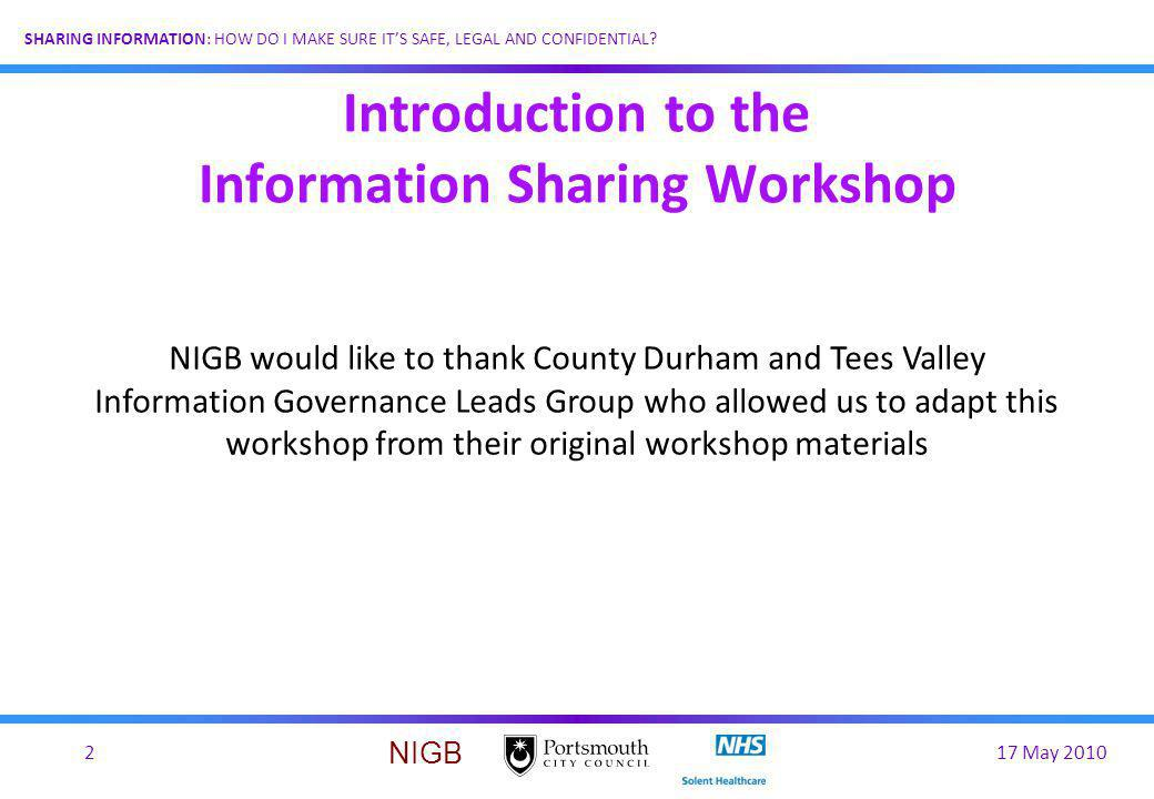 Introduction to the Information Sharing Workshop