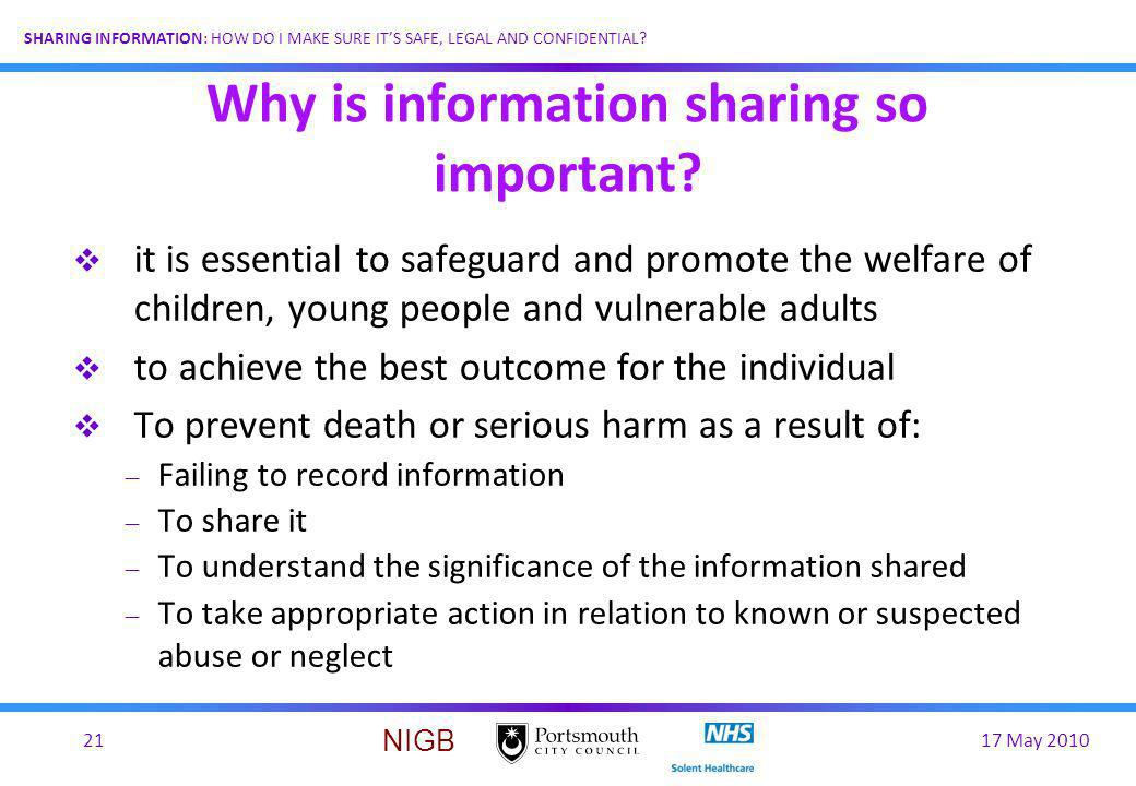 Why is information sharing so important