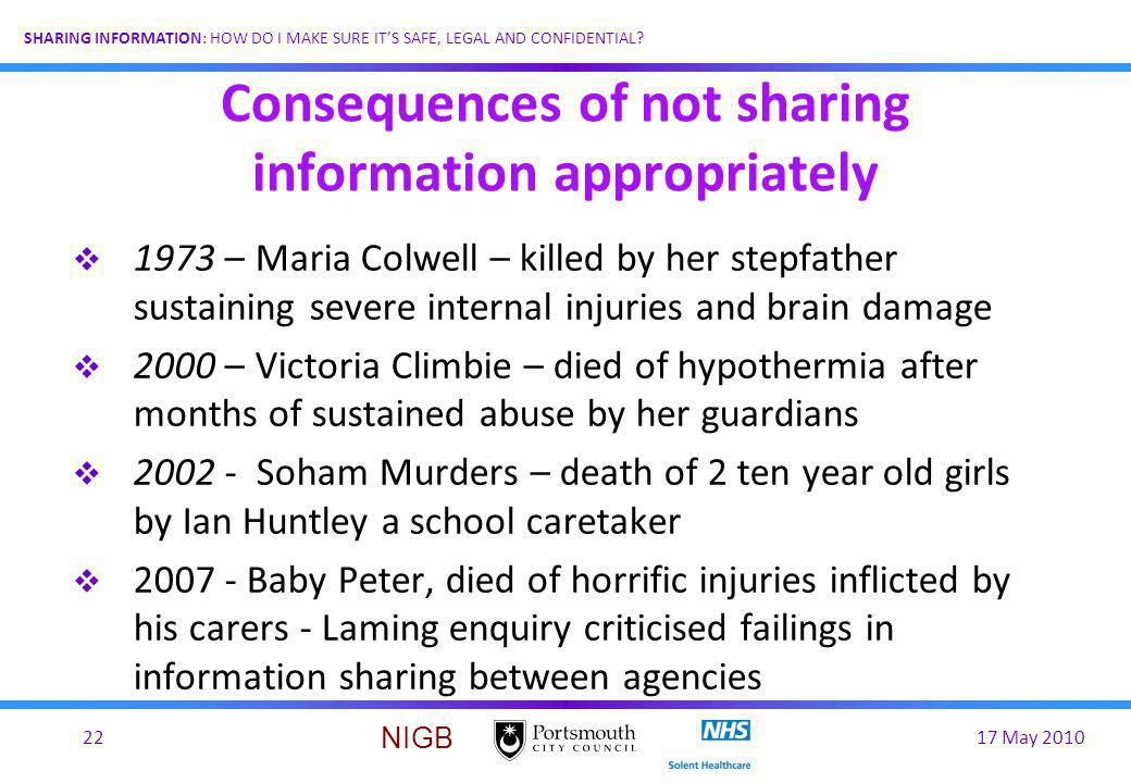 Consequences of not sharing information appropriately