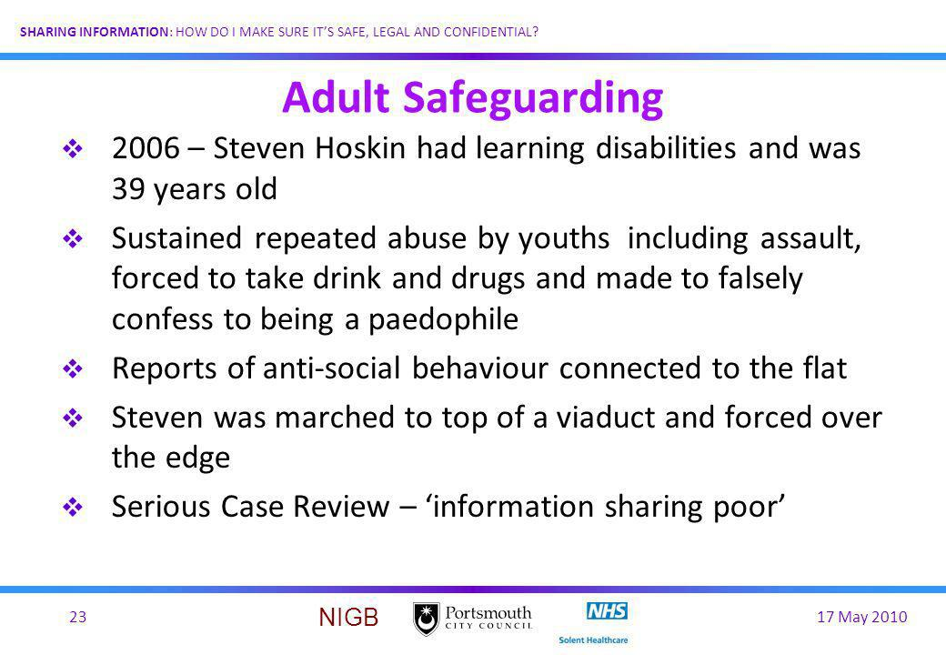 Adult Safeguarding 2006 – Steven Hoskin had learning disabilities and was 39 years old.