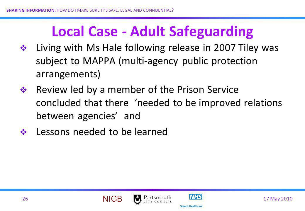Local Case - Adult Safeguarding