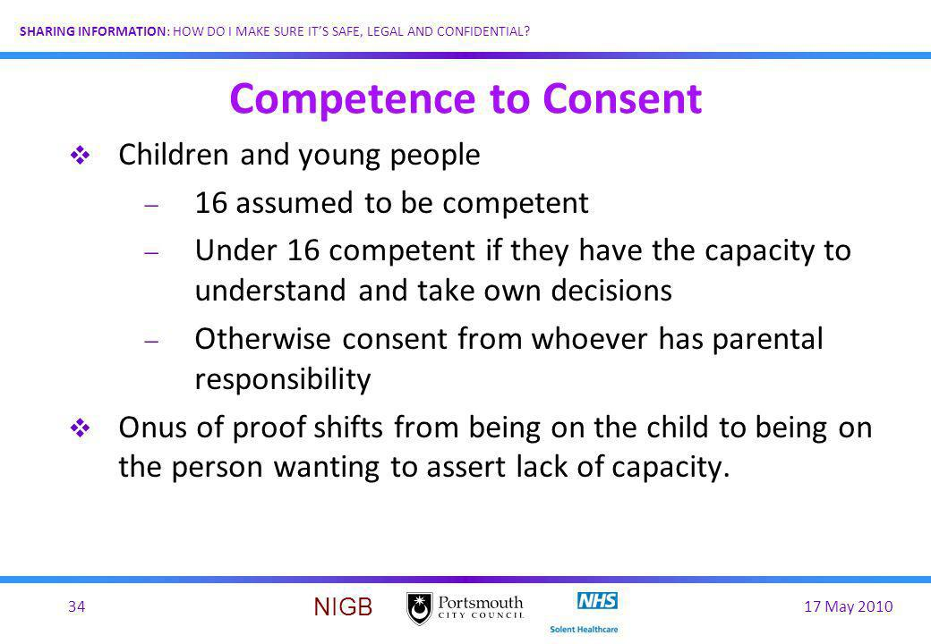 Competence to Consent Children and young people