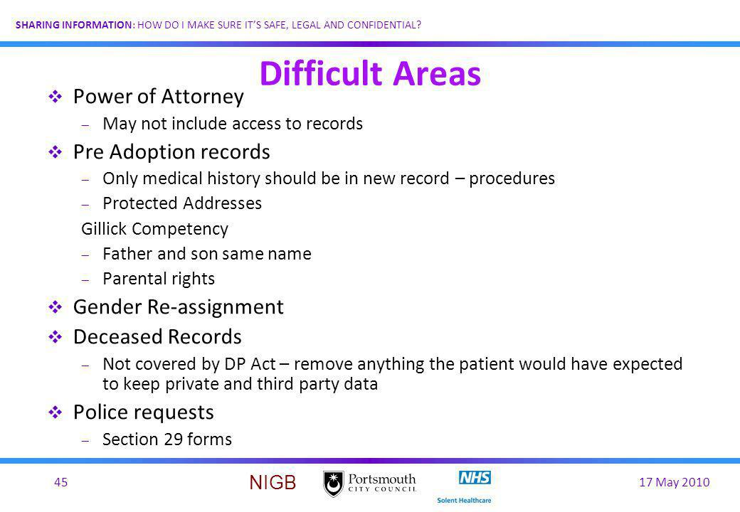 Difficult Areas Power of Attorney Pre Adoption records