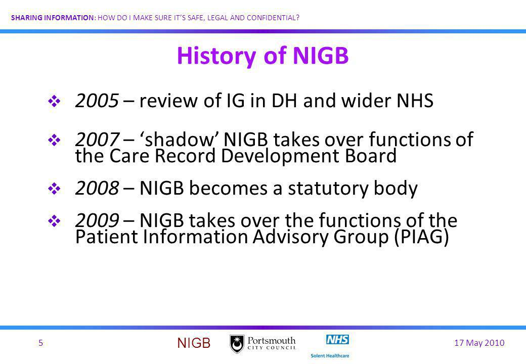 History of NIGB 2005 – review of IG in DH and wider NHS