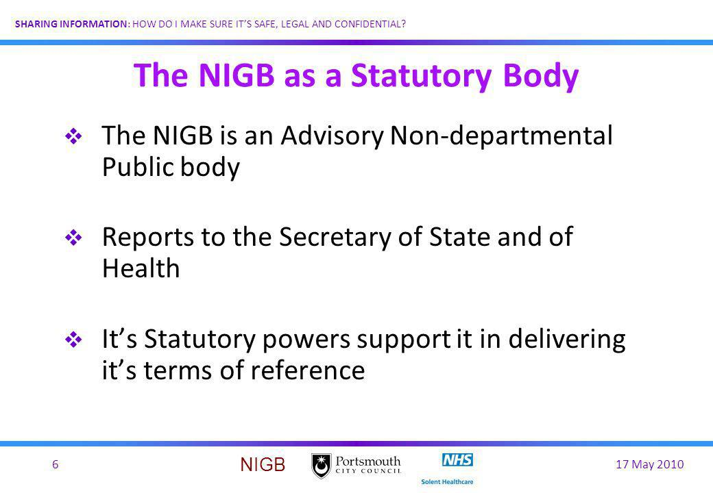 The NIGB as a Statutory Body