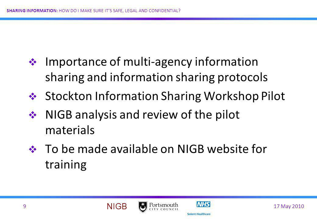 Importance of multi-agency information sharing and information sharing protocols