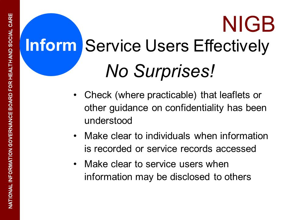 Service Users Effectively No Surprises!
