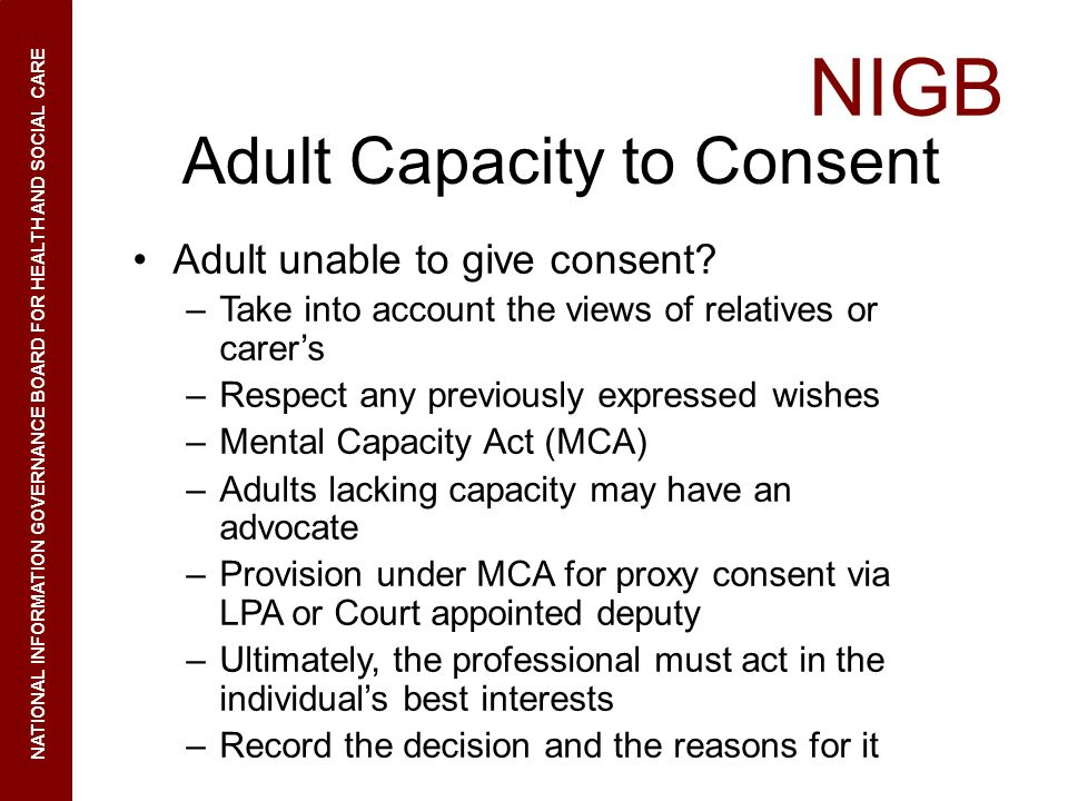 Adult Capacity to Consent