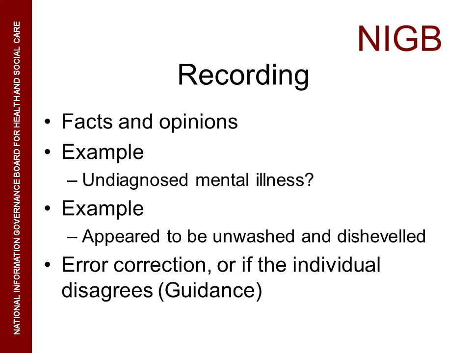 Recording Facts and opinions Example