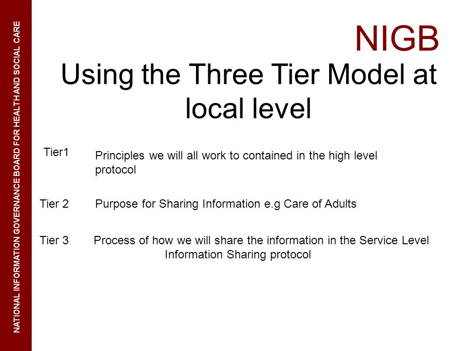 Using the Three Tier Model at local level