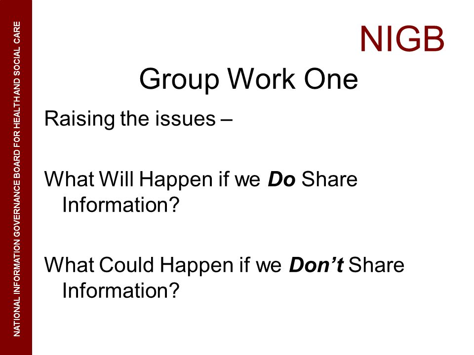 Group Work One Raising the issues –