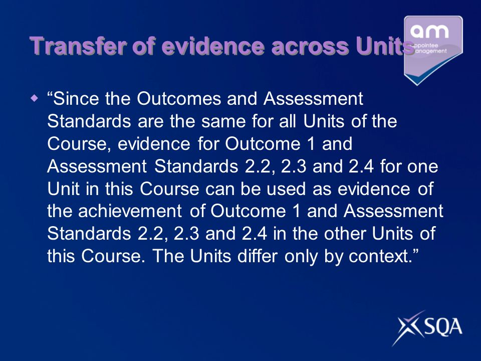 Transfer of evidence across Units