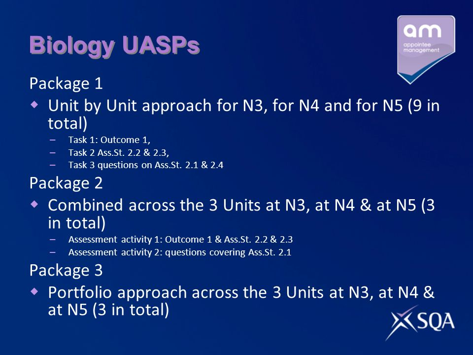 Biology UASPs Package 1. Unit by Unit approach for N3, for N4 and for N5 (9 in total) Task 1: Outcome 1,