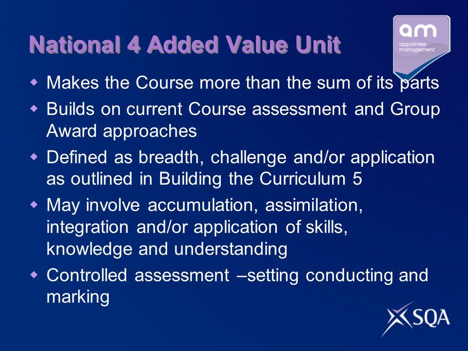 National 4 Added Value Unit