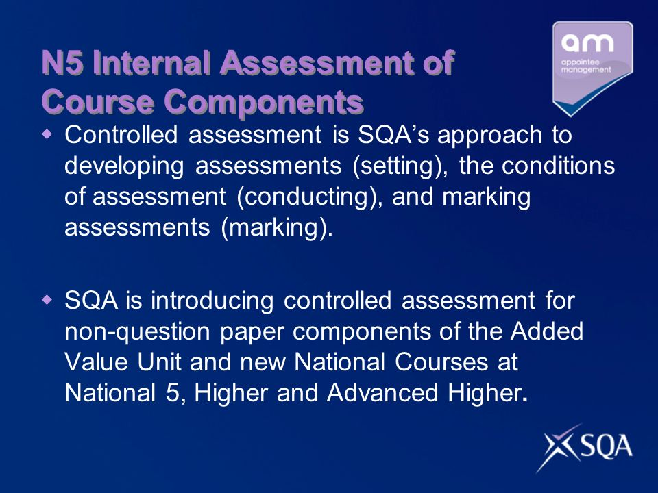 N5 Internal Assessment of Course Components