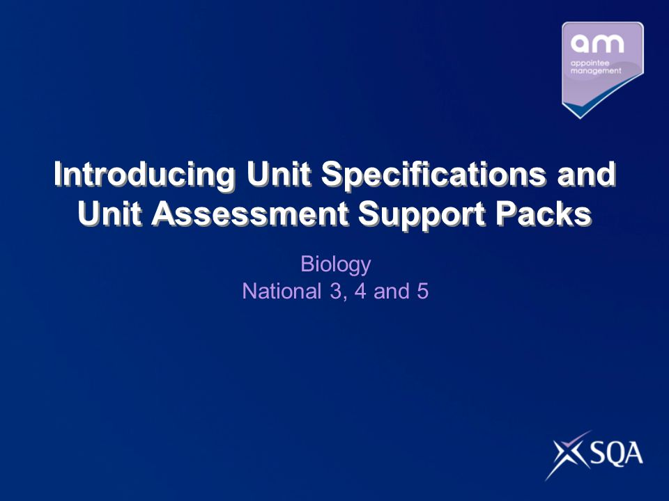 Introducing Unit Specifications and Unit Assessment Support Packs