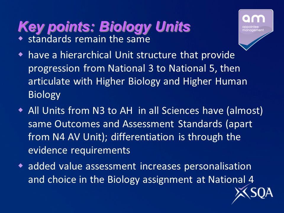 Key points: Biology Units