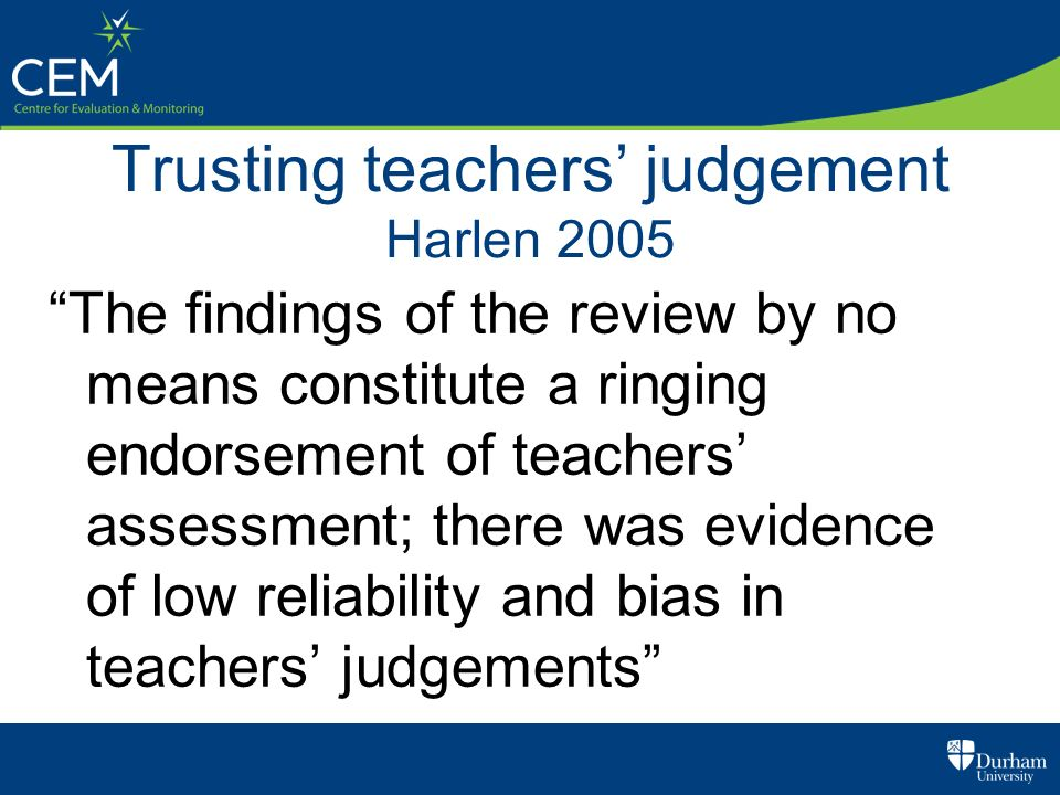 Trusting teachers' judgement Harlen 2005