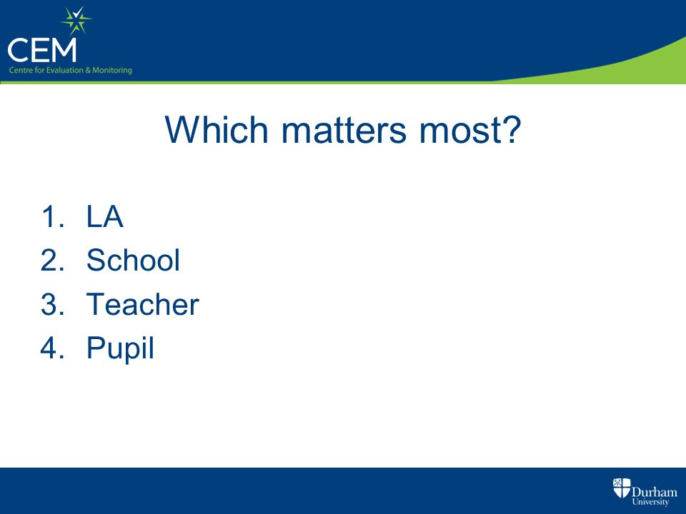 Which matters most LA School Teacher Pupil