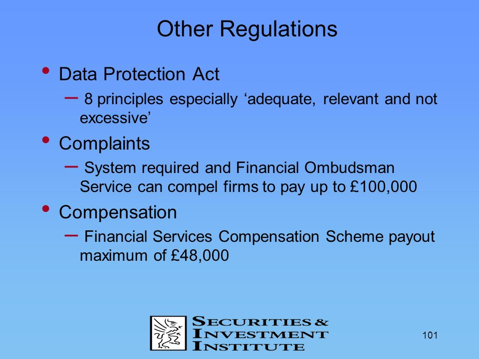 Other Regulations Data Protection Act Complaints Compensation