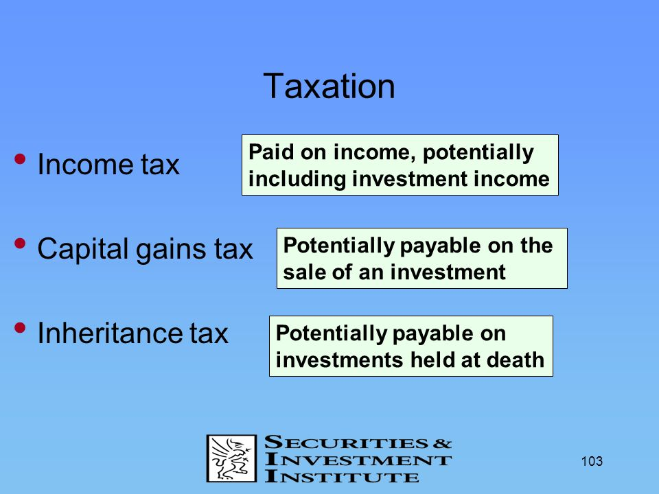 Taxation Income tax Capital gains tax Inheritance tax