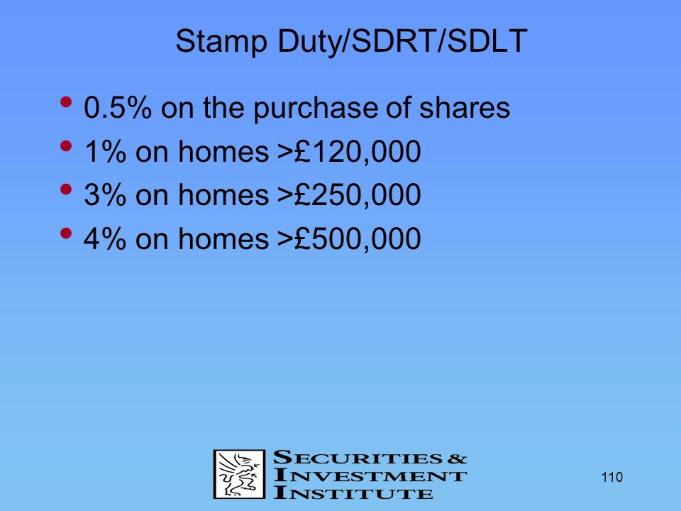 Stamp Duty/SDRT/SDLT 0.5% on the purchase of shares