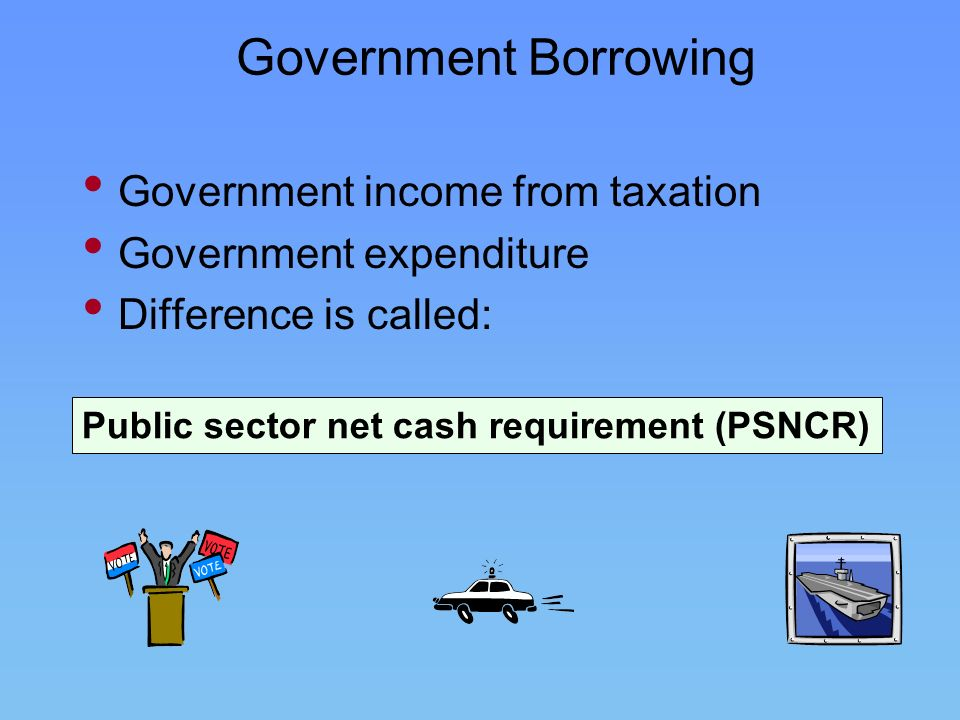 Government Borrowing Government income from taxation