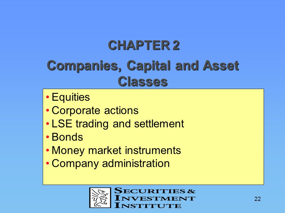 Companies, Capital and Asset Classes